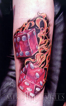 Tattoos - Red Dice Tattoo - 16536